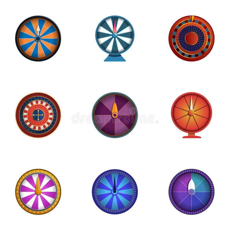 Uppsättning för symbol för kasinoförmögenhethjul, tecknad filmstil royaltyfri illustrationer