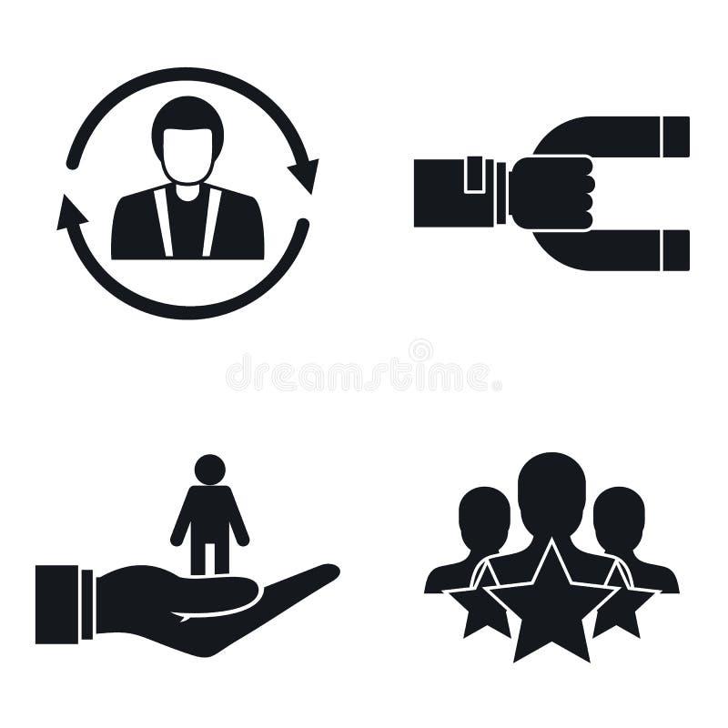 Uppsättning för symbol för kundkvarhållandemarknadsföring, enkel stil royaltyfri illustrationer