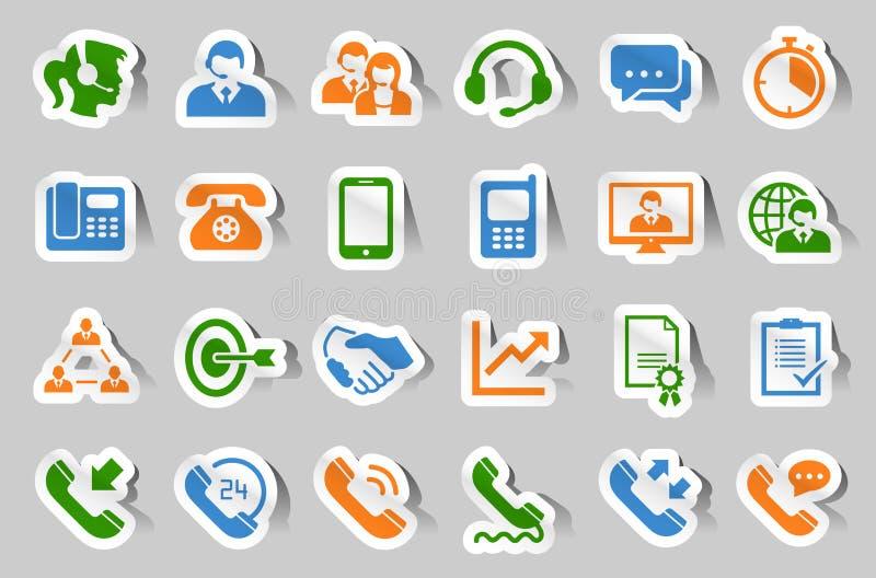 Uppsättning för symbol för kundsupporttjänstklistermärke stock illustrationer