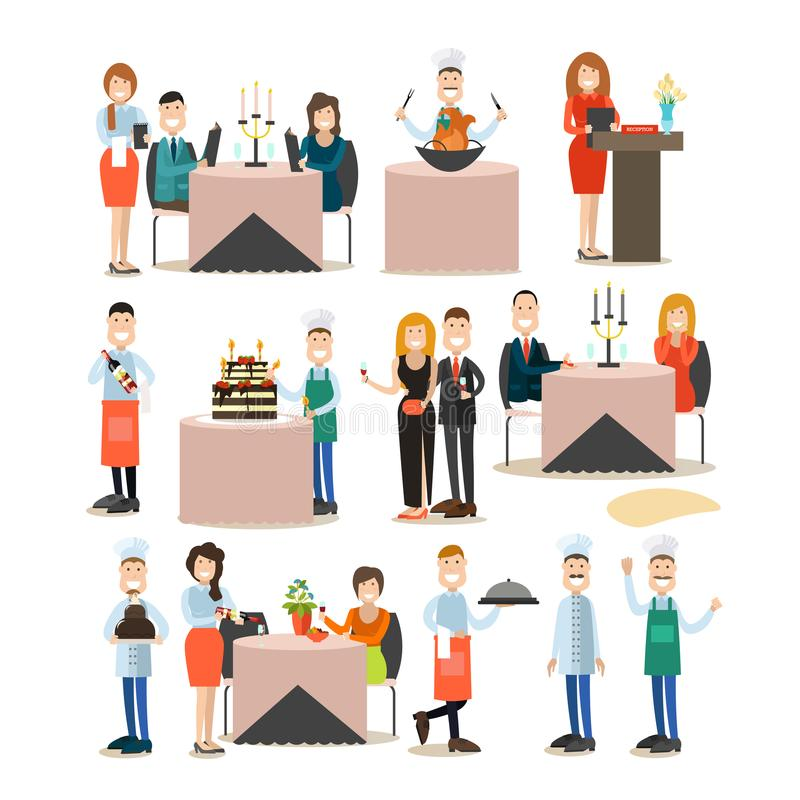 Uppsättning för symbol för lägenhet för restaurangfolkvektor stock illustrationer