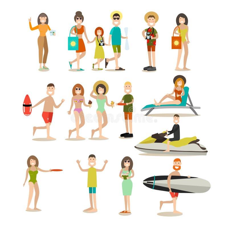 Uppsättning för symbol för lägenhet för sommarfolkvektor stock illustrationer