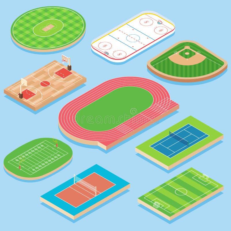 Uppsättning för symbol för lägenhet för vektor för sportfält isometrisk royaltyfri illustrationer