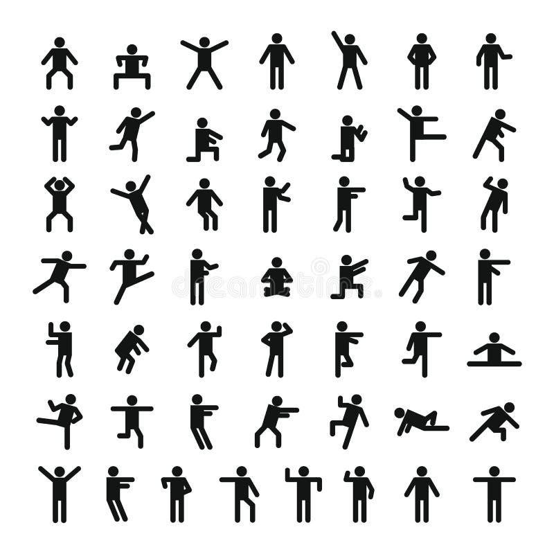 Uppsättning för symbol för manfolkpinne, enkel stil stock illustrationer