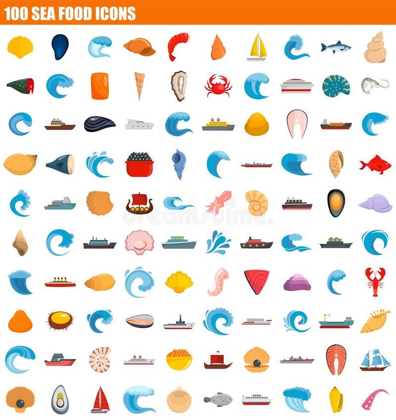uppsättning för symbol för mat för hav 100, lägenhetstil royaltyfri illustrationer