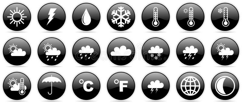 Uppsättning för symbol för meteorologi för väderprognosklimat glansig royaltyfri illustrationer