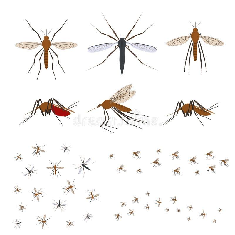 Uppsättning för symbol för mygga för tecknad filmfärg olik vektor stock illustrationer