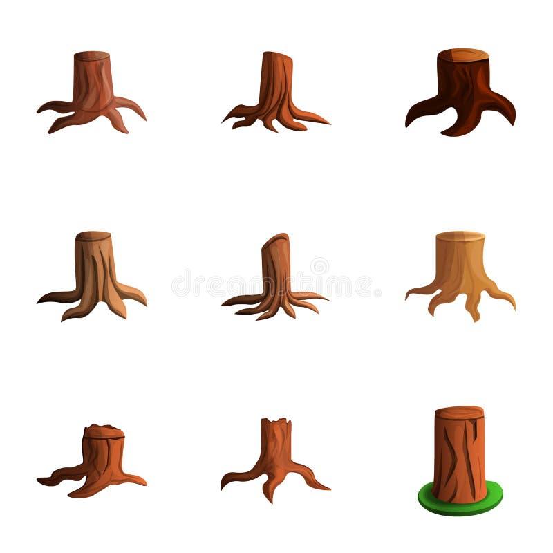 Uppsättning för symbol för naturträdstubbe, tecknad filmstil vektor illustrationer
