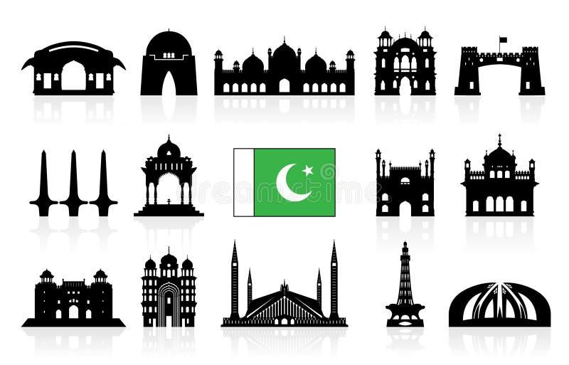Uppsättning för symbol för Pakistan loppgränsmärken royaltyfri illustrationer