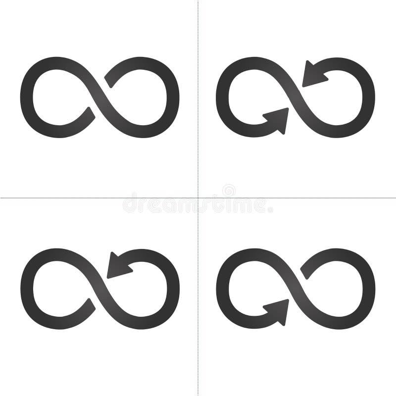 Uppsättning för symbol för piloändlighetssymbol Vektorillustration som isoleras på vit bakgrund royaltyfri illustrationer