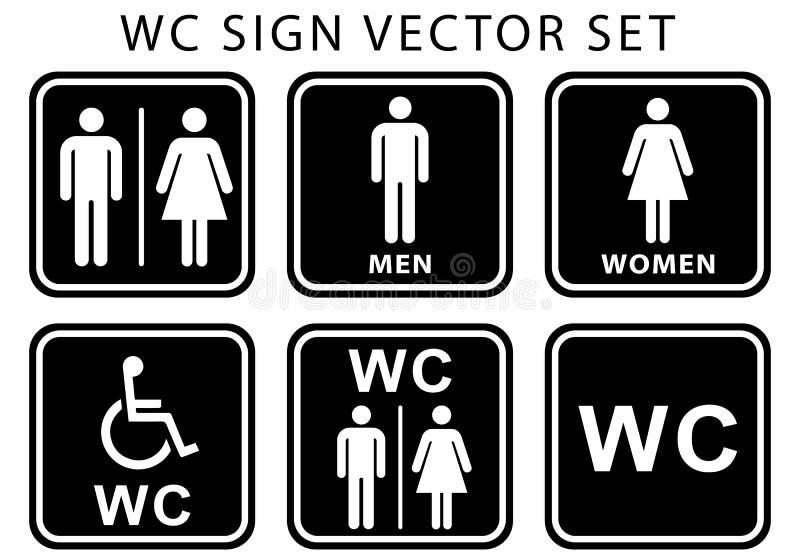 Uppsättning för symbol för platta för Wc-toalettdörr Man- och kvinnatecken f?r toalett svart vit färg för plana vektorillustratio vektor illustrationer