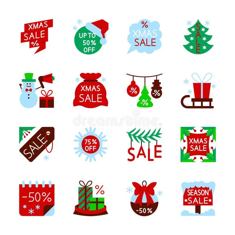 Uppsättning för symbol för rensning för nytt år för julförsäljning vektor illustrationer