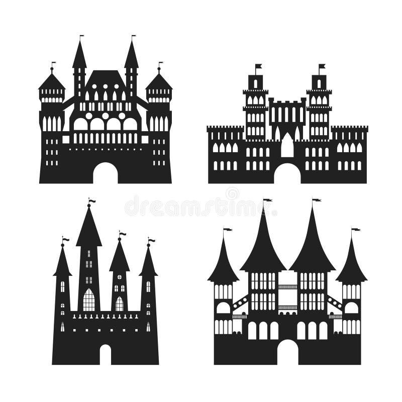 Uppsättning för symbol för slottar för tecknad filmkontursvart medeltida gammal vektor royaltyfri illustrationer