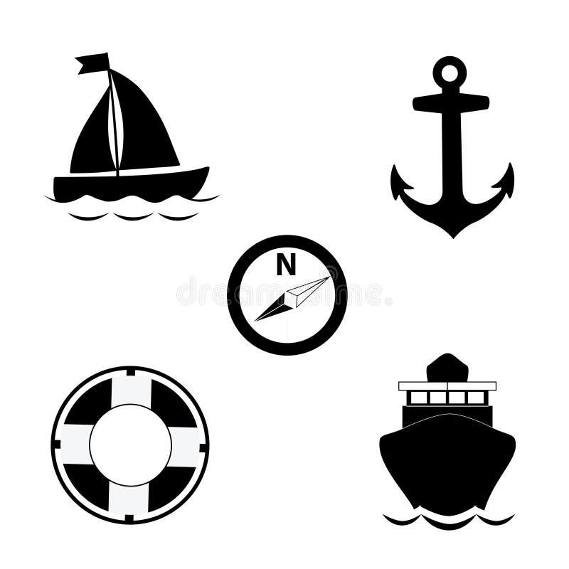 Uppsättning för symbol för sommarlopphav som isoleras på vit bakgrund stock illustrationer
