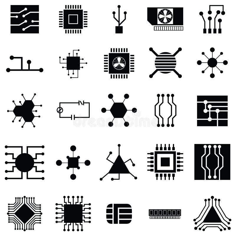 Uppsättning för symbol för strömkretsbräde royaltyfri illustrationer