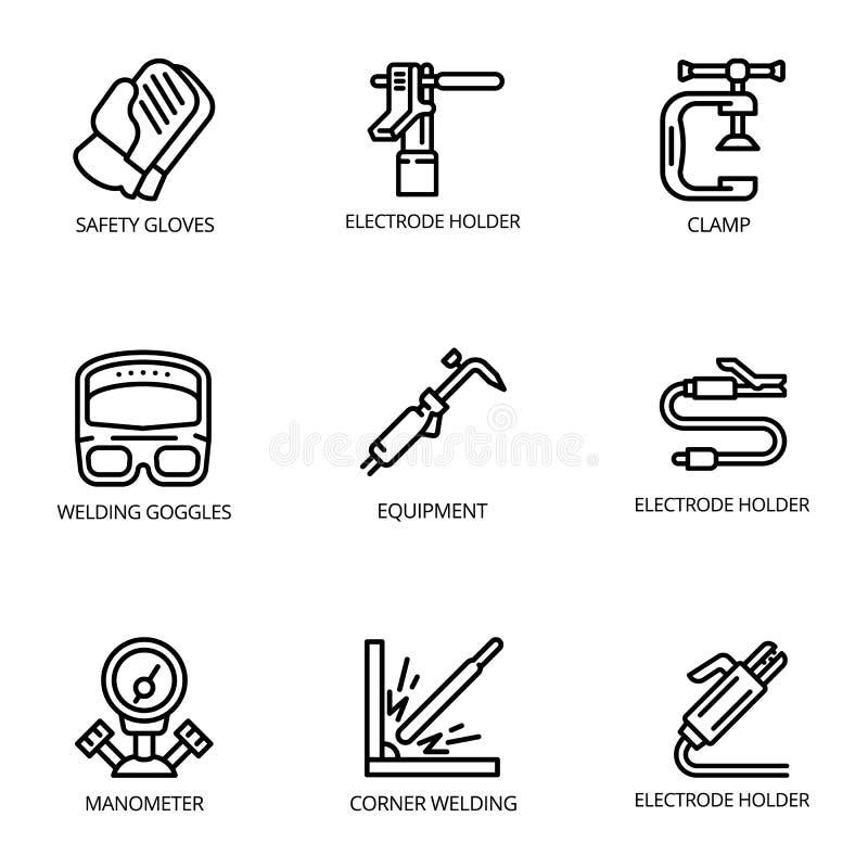 Uppsättning för symbol för svetsningbransch, översiktsstil royaltyfri illustrationer