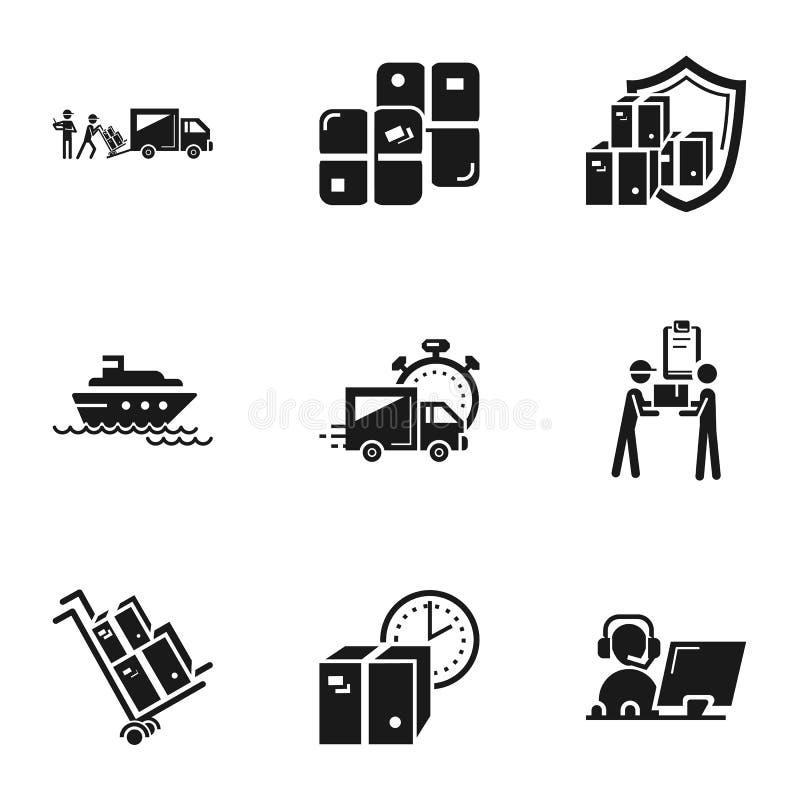 Uppsättning för symbol för transportjordlottleverans, enkel stil stock illustrationer