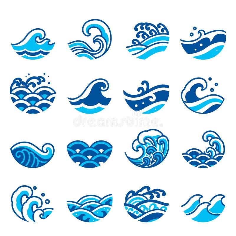 Uppsättning för symbol för vattenvåg stock illustrationer