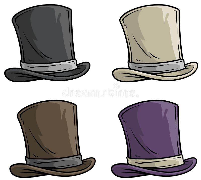 Uppsättning för symbol för vektor för bästa hatt för gentleman för tecknad film gammal stock illustrationer