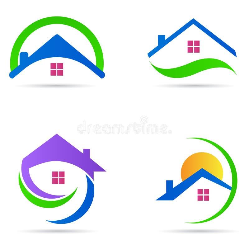 Uppsättning för symbol för vektor för symbol för hem- konstruktion för huslogofastighet bostads- stock illustrationer