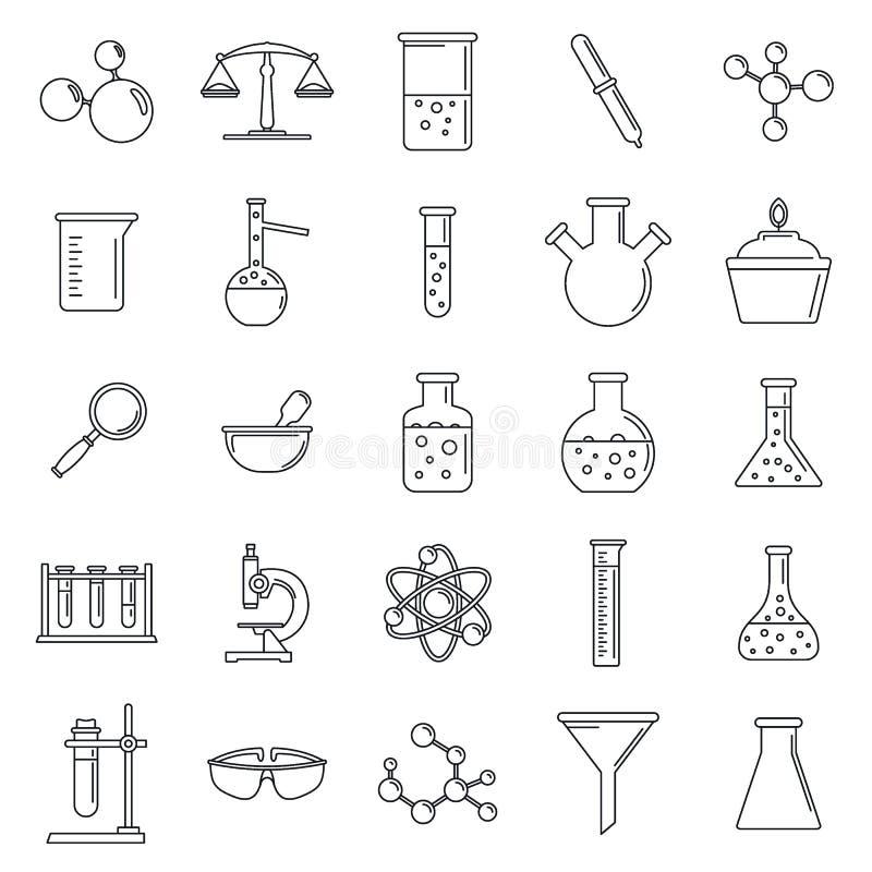 Uppsättning för symbol för vetenskapslaboratorium, översiktsstil stock illustrationer