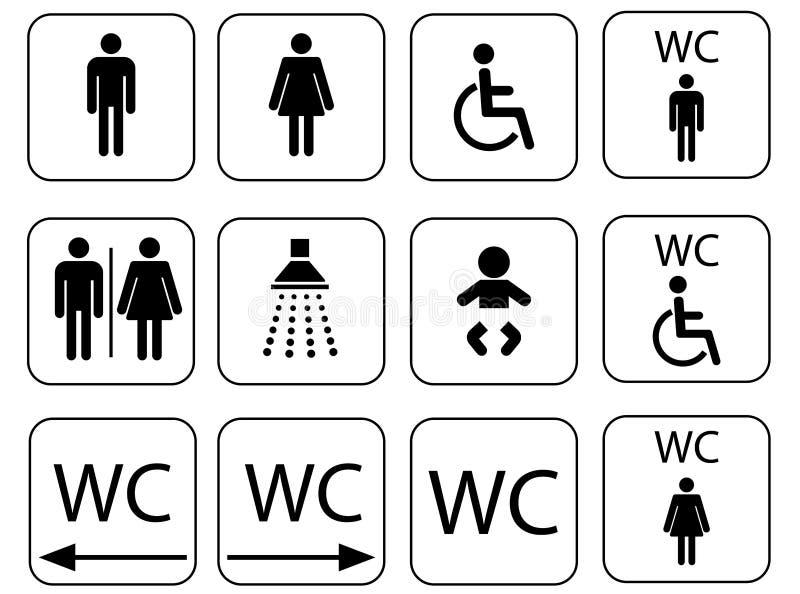 Uppsättning för symbol för för för Wc-teckensymboler, toalett och toalett stock illustrationer