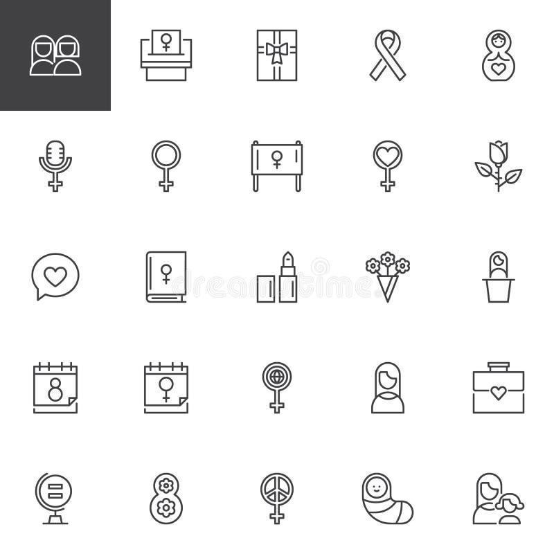 Uppsättning för symboler för översikt för dag för kvinna` s stock illustrationer
