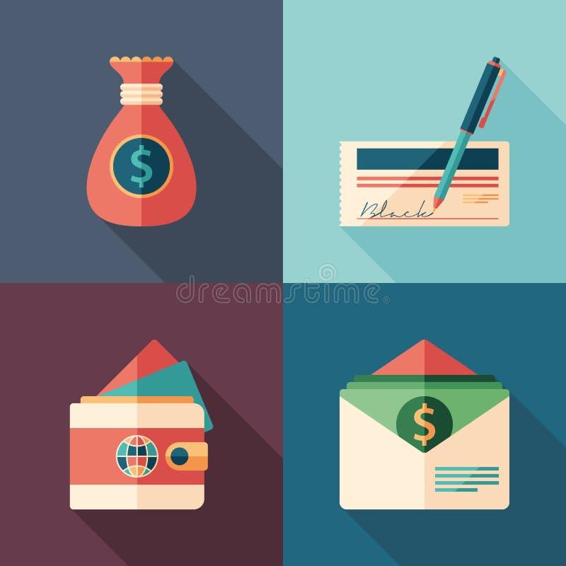 Uppsättning för symboler för affärs- och finanslägenhetfyrkant vektor illustrationer