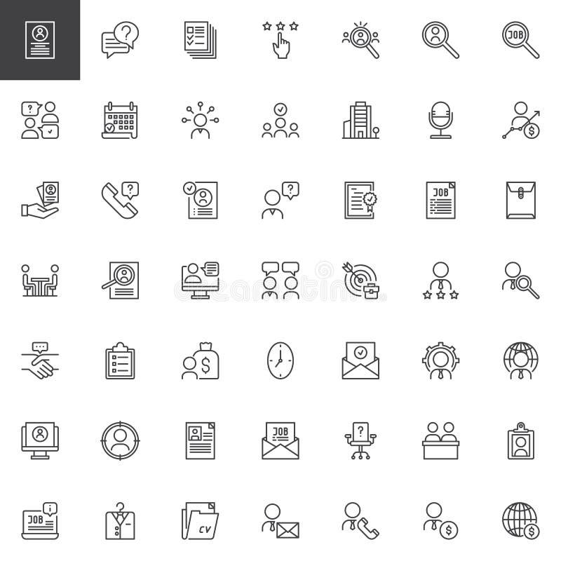 Uppsättning för symboler för affärsintervjuöversikt stock illustrationer