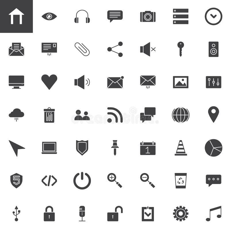 Uppsättning för symboler för användargränssnittväsentlighetvektor royaltyfri illustrationer