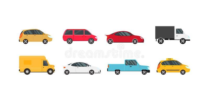 Uppsättning för symboler för bil för tecknad filmfärg modern vektor royaltyfri illustrationer