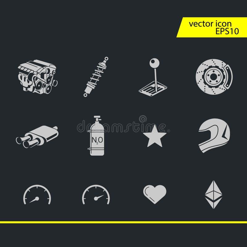 Uppsättning för symboler för billopp Stoppur och hastighetsmätare, gummihjul, hjälm och kopp, vinnande fullföljande, flagga och h royaltyfri illustrationer