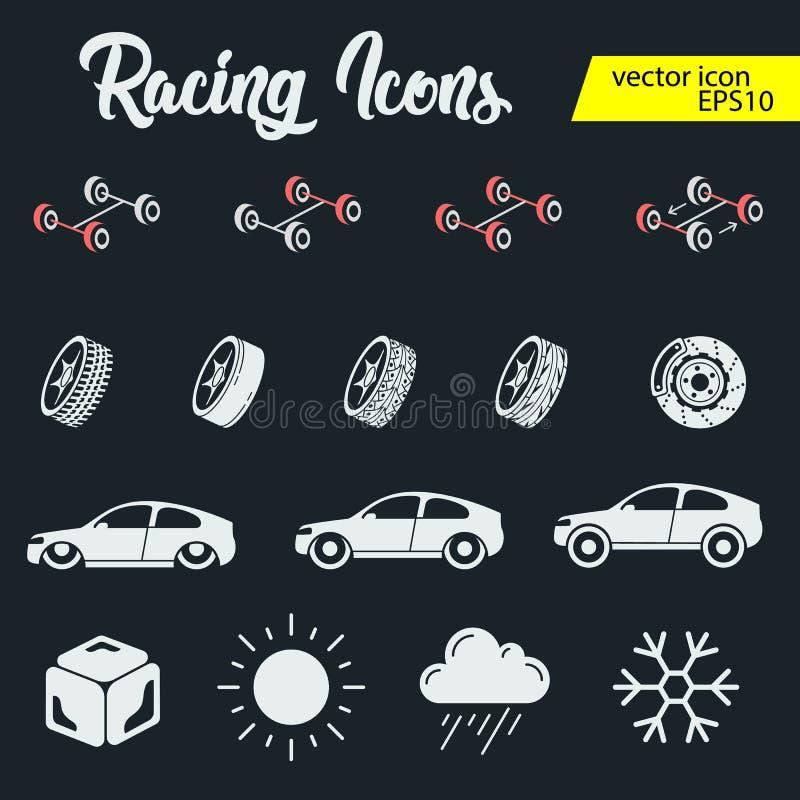 Uppsättning för symboler för billopp Stoppur och hastighetsmätare, gummihjul, hjälm och kopp, vinnande fullföljande, flagga och h stock illustrationer