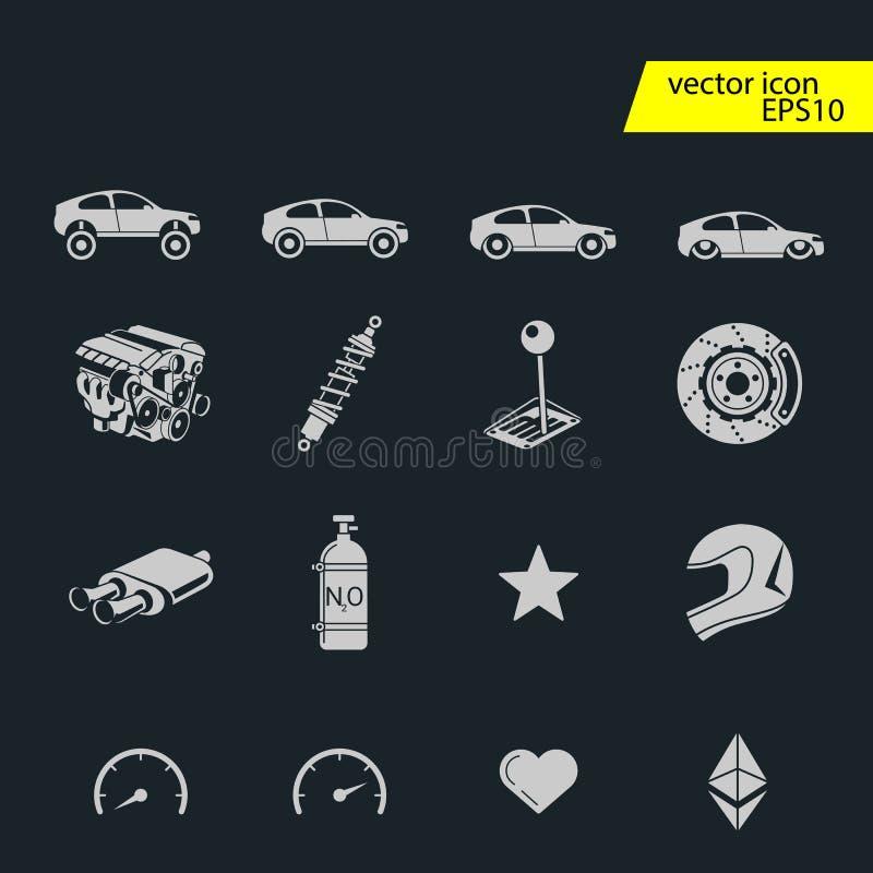 Uppsättning för symboler för billopp Stoppur och hastighetsmätare, gummihjul, hjälm och kopp, vinnande fullföljande, flagga och h vektor illustrationer