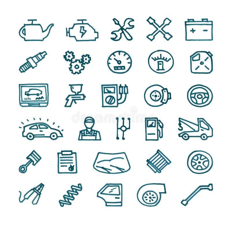 Uppsättning för symboler för bilservice hand dragen stock illustrationer