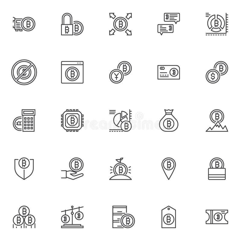 Uppsättning för symboler för Bitcoin cryptocurrencyöversikt stock illustrationer