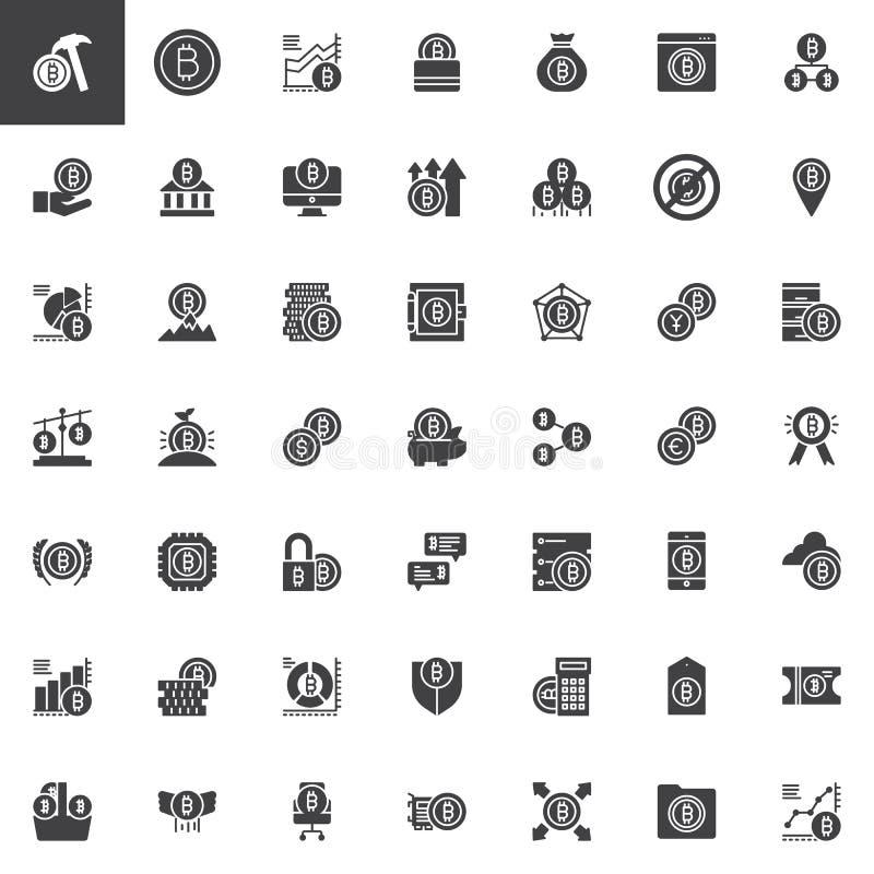 Uppsättning för symboler för Bitcoin cryptocurrencyvektor vektor illustrationer