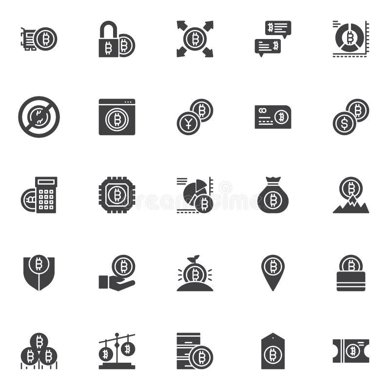 Uppsättning för symboler för Bitcoin cryptocurrencyvektor stock illustrationer