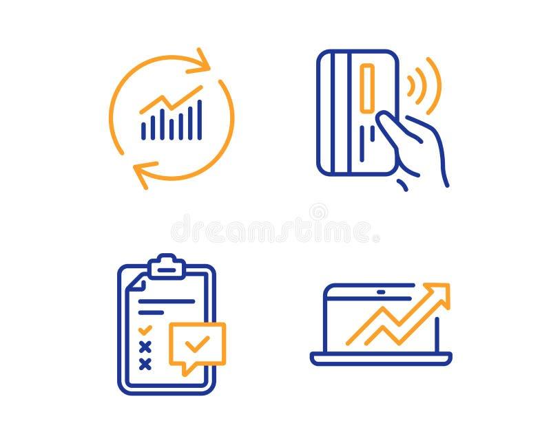 Uppsättning för symboler för Contactless betalning, kontrollista- och uppdateringdata Försäljningsdiagramtecken vektor stock illustrationer