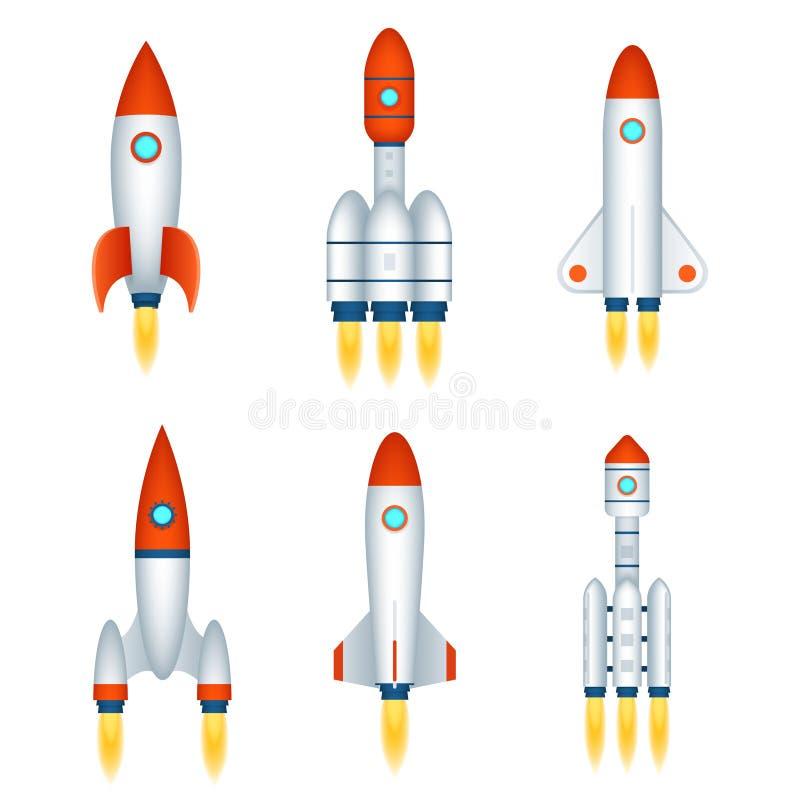 Uppsättning för symboler för design för tecknad film för anslutning 3d för symbol för teknologi för rymdskepp för utforskning av  royaltyfri illustrationer