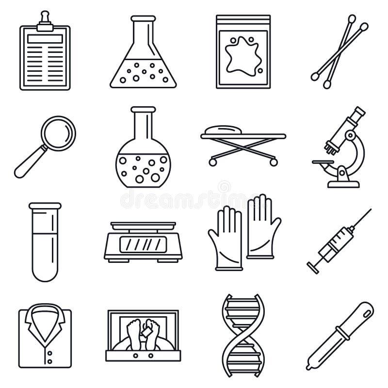 Uppsättning för symboler för Dna-utredninglaboratorium, översiktsstil royaltyfri illustrationer