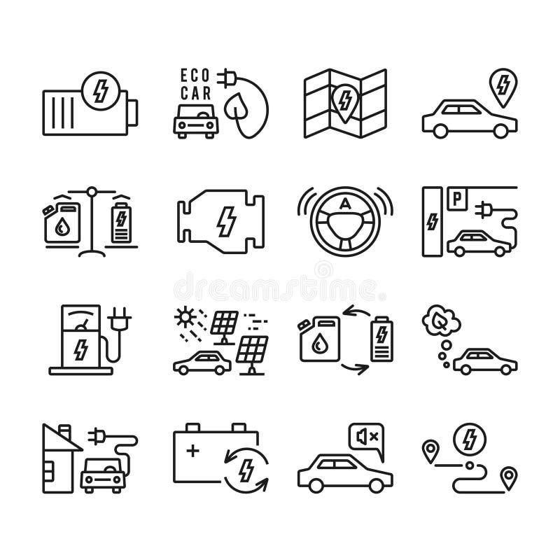 Uppsättning för symboler för elbilöversiktsvektor vektor illustrationer