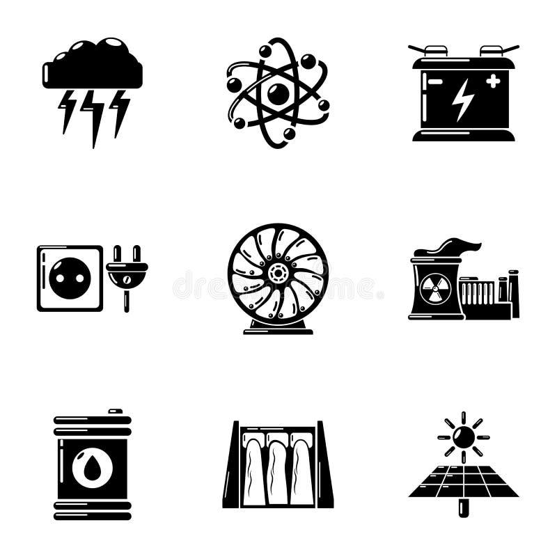 Uppsättning för symboler för energikälla, enkel stil royaltyfri illustrationer
