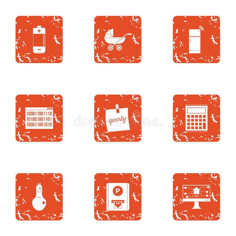 Uppsättning för symboler för energikälla, grungestil stock illustrationer