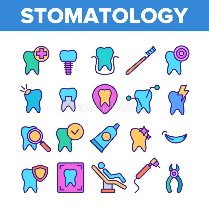 Uppsättning för symboler för färgstomatology- och tandläkekonstvektor linjär royaltyfri illustrationer