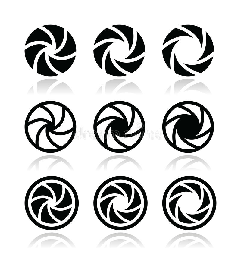 Uppsättning för symboler för öppning för kameraslutare vektor illustrationer