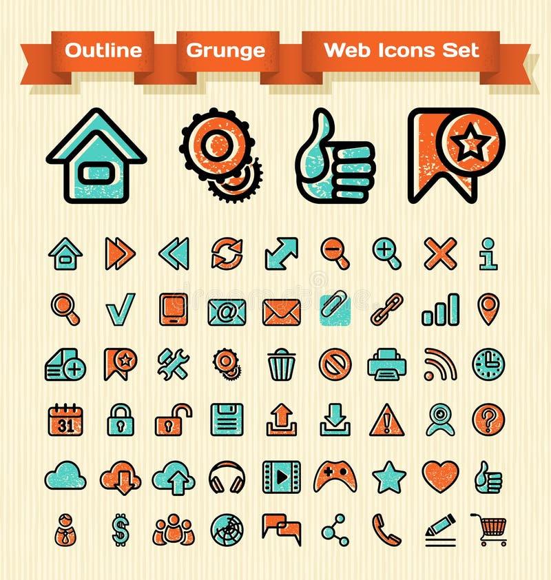 Uppsättning för symboler för översiktsGrungerengöringsduk royaltyfri illustrationer