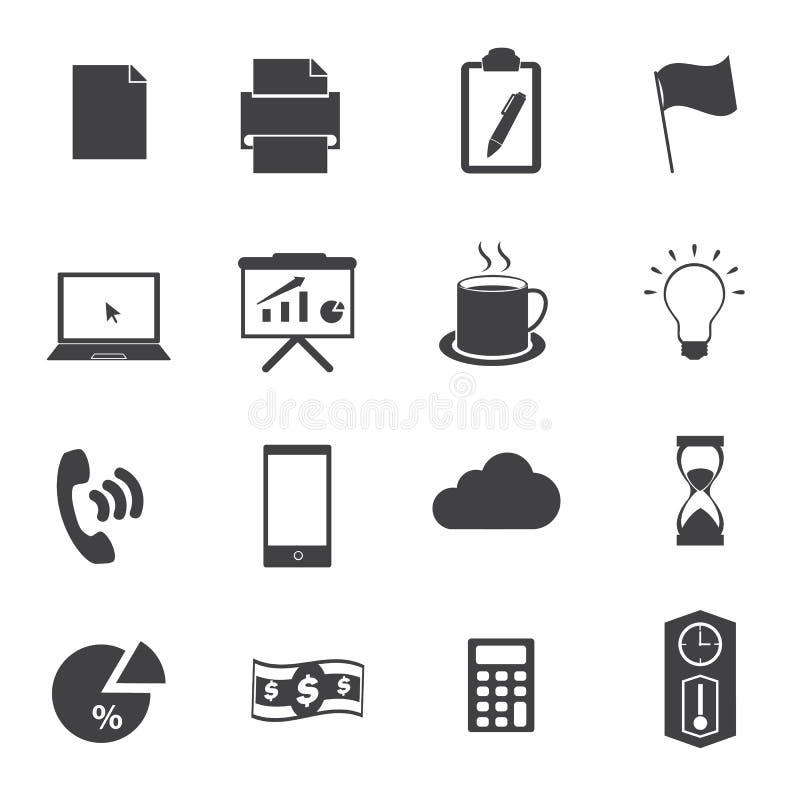 Uppsättning för symboler för affärskontor stock illustrationer