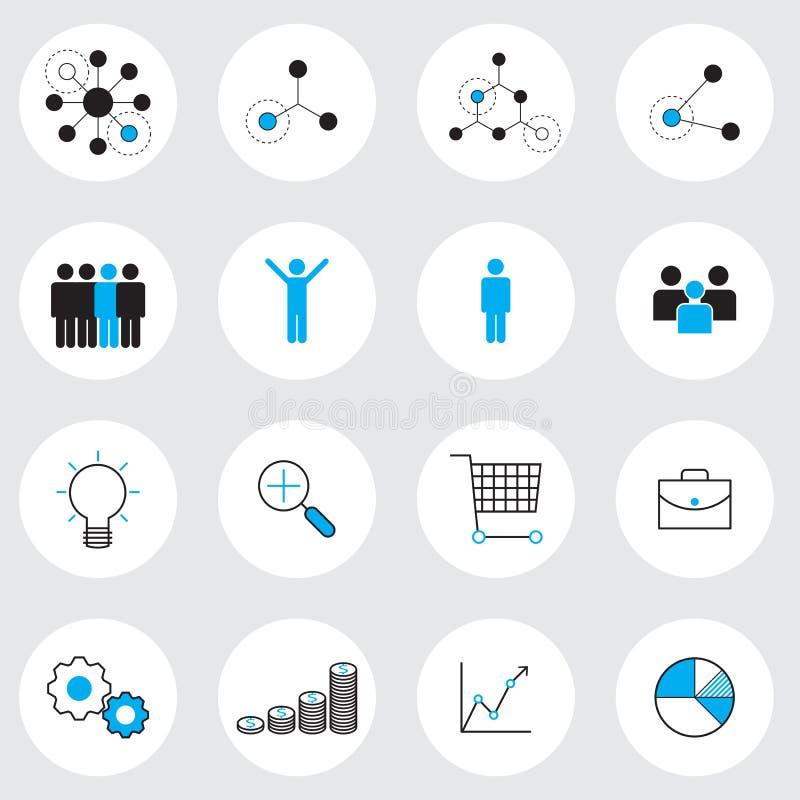 Uppsättning för symboler för affärsledning royaltyfri illustrationer