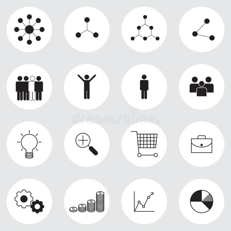 Uppsättning för symboler för affärsledning stock illustrationer