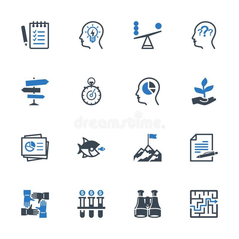 Uppsättning 3 för symboler för affärsledning - blå serie stock illustrationer